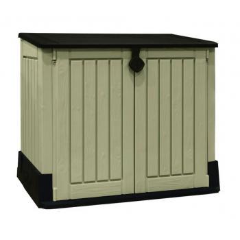 Plastová skříňka pro uložení věcí na zahradu / terasu, béžová / hnědá