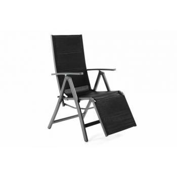 Skládací křeslo / lehátko s textilním potahem, polohovatelné, černé