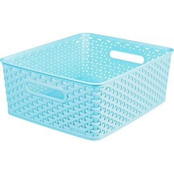 Plastový úložný košík na drobnosti, vel. M, modrý