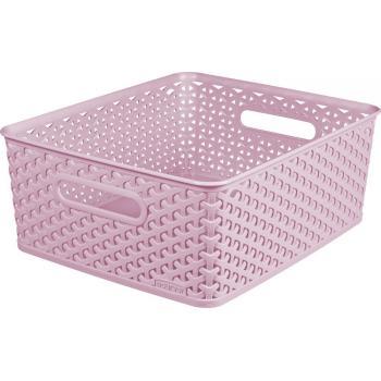Plastový úložný košík na drobnosti, vel. M, růžový