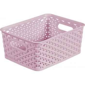 Plastový úložný košík na drobnosti, vel. S, růžový