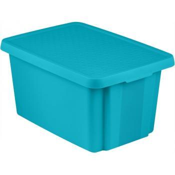 Velká úložná plastová bedna s víkem, modrá, 45 l