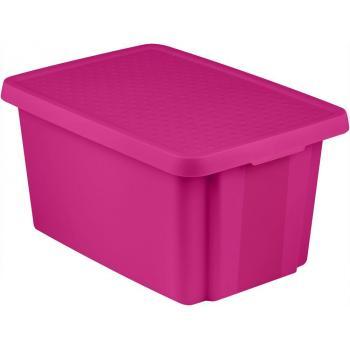 Velká úložná plastová bedna s víkem, fialová, 45 l