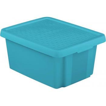 Středně velký úložný plastový box s víkem 20 l, modrý