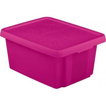 Středně velký úložný plastový box s víkem 20 l, fialový