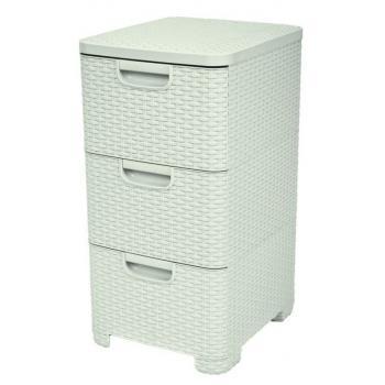 Plastová skříňka se zásuvkami, 3x14 l, ratanový vzhled, krémová