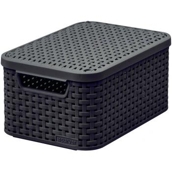 Ozdobný úložný plastový box s víkem, ratanový vzhled, vel. S, hnědočerný