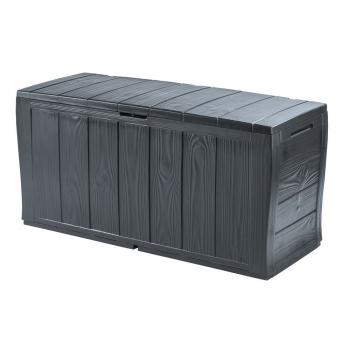 Plastový úložný box 270 l na polstry a nářadí, struktura dřeva