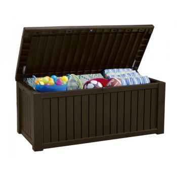 Velký úložný box na polstry, nářadí, hračky 570 l, hnědý, s víkem