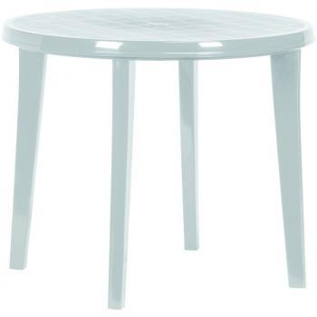 Plastový kulatý stůl, otvor pro slunečník, světle šedý