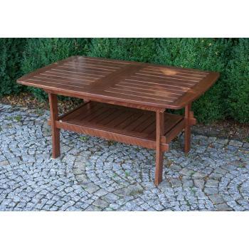Masivní dřevěný zahradní stůl, rozkládací, impregnované + lakované dřevo
