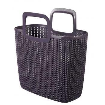 Plastová nákupní taška s držadly, háčkovaný vzor, fialová