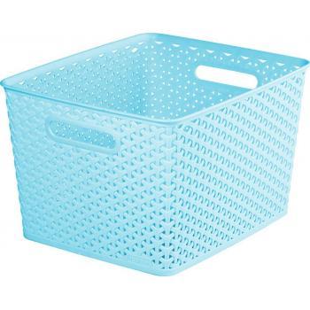Úložný plastový košík, dekorativní vzhled, vel. L, modrý