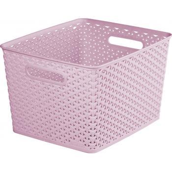 Úložný plastový košík, dekorativní vzhled, vel. L, růžový