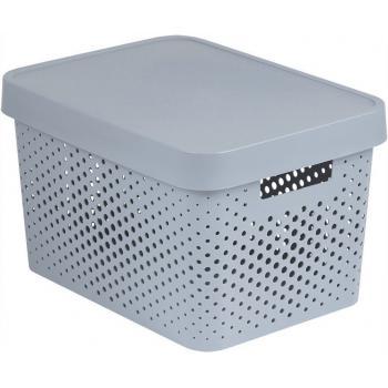 Úložný plastový košík s víkem 17 l,  dekorativní vzhled, bílý