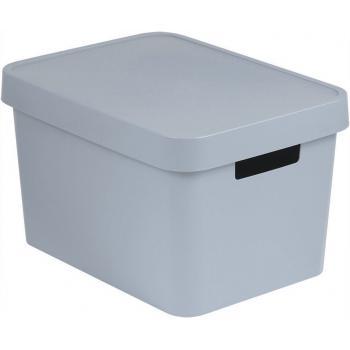 Úložný plastový košík s víkem 17 l,  bez otvorů, šedý