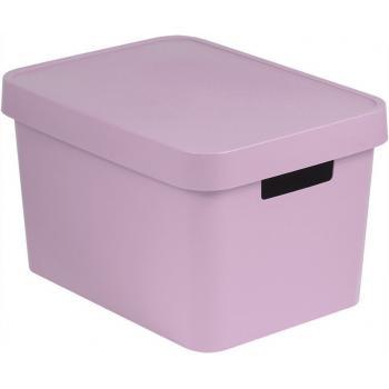 Úložný plastový košík s víkem 17 l,  bez otvorů, růžový