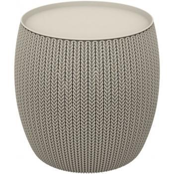 Menší designový plastový stolek, vzor pletení, pískový