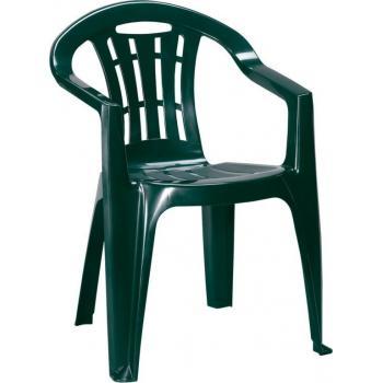 Levná plastová židle na zahradu / terasu, lesklá, tmavě zelená