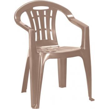 Levná plastová židle na zahradu / terasu, lesklá, cappuccino