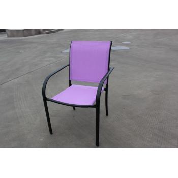 Venkovní kovová židle, potah- umělá textilie, fialová