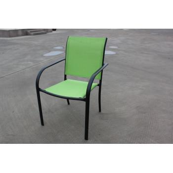 Venkovní kovová židle, potah- umělá textilie, zelená
