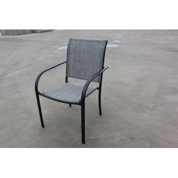 Venkovní kovová židle, potah- umělá textilie, šedá