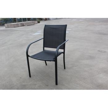 Venkovní kovová židle, potah- umělá textilie, černá