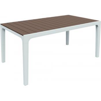 Venkovní plastový stůl obdélníkový, horní deska- imitace dřeva