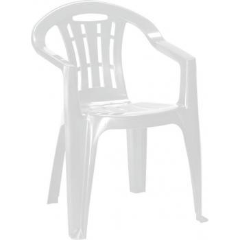 Levná plastová židle na zahradu / terasu, lesklá, bílá