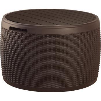 Plastový kulatý stolek s úložným prostorem 140 l, plast, hnědý