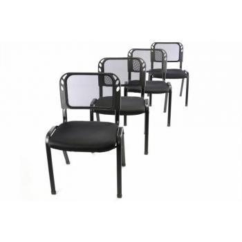 4 ks stohovatelná židle, čekárny / ordinace / konference, černá