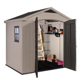Plastový zahradní domek, dvoukřídlé dveře, 182x256x243 cm, béžová / hnědá