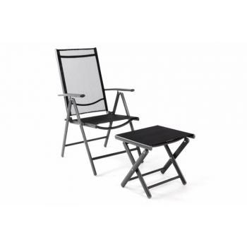 Lehká hliníková venkovní židle se stoličkou, skládací, černá