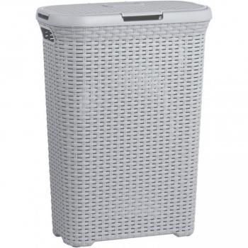 Vysoký koš na špinavé prádlo s víkem 40 l, vzhled ratan, šedý