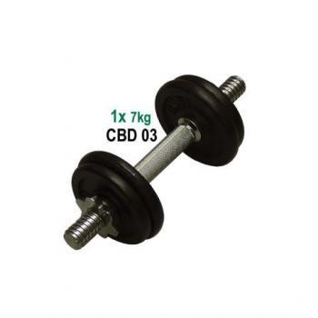 Kovová nakládací jednoruční činka, černé kotouče, 7 kg