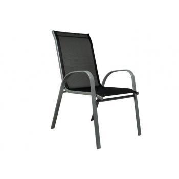 Pevná kovová zahradní židle, textilní výplň, šedá / antracit