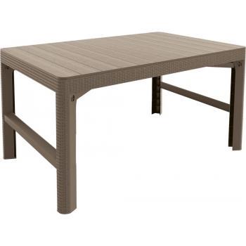Plastový stůl s nastavitelnou výškou, imitace ratanu, cappuccino