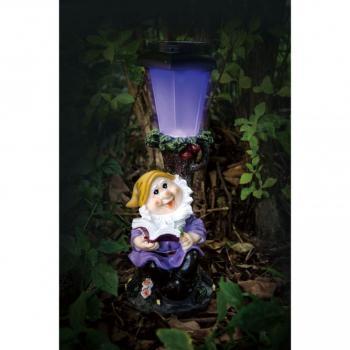 Zahradní dekorace- trpaslík se svítící lampou 30 cm- solární napájení