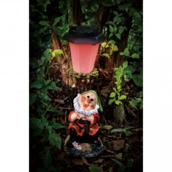 Zahradní dekorace- trpaslík se svítící lampou 30 cm- solární napájení (2)
