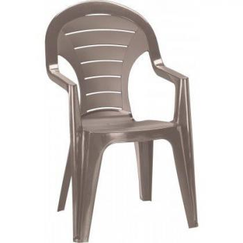 Zahradní plastová židle s područkami, cappuccino