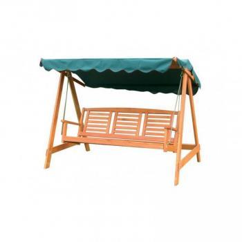 Dřevěná zahradní houpačka pro 3 osoby, zelená střecha