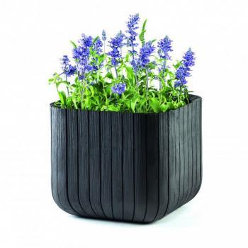 Plastový dekorativní květináč krychle, imitace dřeva, 39,5x39,5 cm