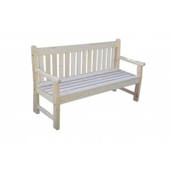 Zahradní lavička z masivu pro 3 osoby, 150 cm, přírodní dřevo