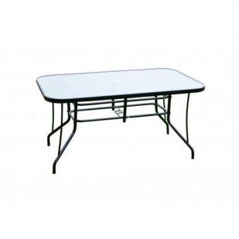 Zahradní obdélníkový stůl se skleněnou deskou, kovový rám