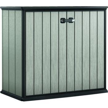 Plastová venkovní skříňka na nářadí, šedohnědá, 120x140x77 cm