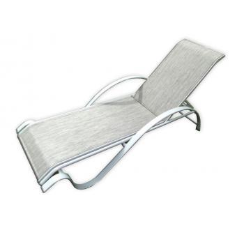 Relaxační zahradní leháko s kovovým rámem, nastavitelné, šedé