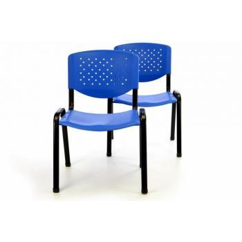 2 ks plastová stohovatelná židle s kovovým rámem, modrá