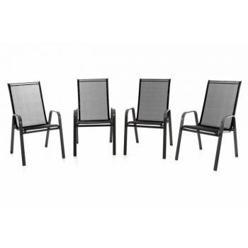4 ks stohovatelná venkovní židle s prodyšným polstrováním, černá