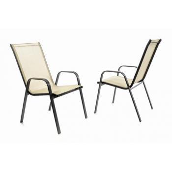 2 ks venkovní židle s prodyšným polstrováním, stohovatelná, krémová